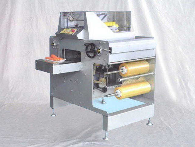 automatic cling film tray wrapping machine vegetable wrapper packing supermarket equipment