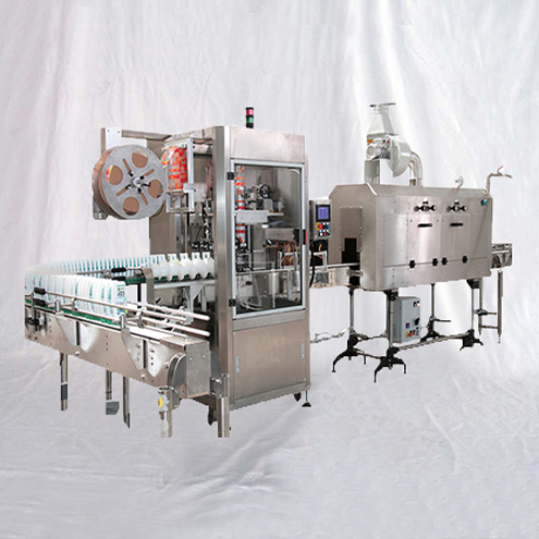 fully automatic shrink labelling machine with steam heating tunnel bottles bottom film cover shrinking labeller