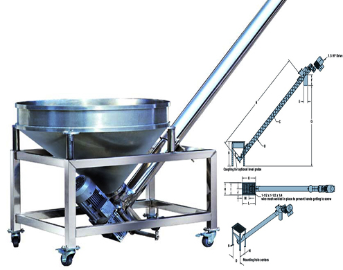 screw auger conveying system auger elevator feeder for powder filling packing Z type bucket elevator Schneckenförderer