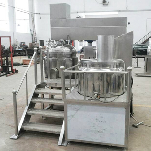 Cusomized vacuum emulsifier homogenizer equipment vacuum blending pot with load cell weighing system electric heating 350L