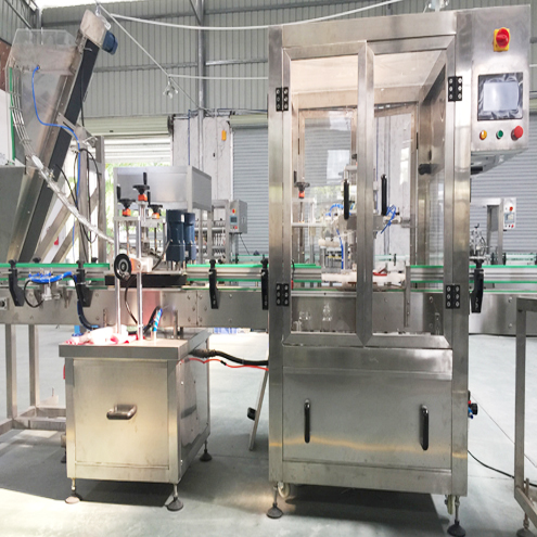 glass jars double heads vacuum capping machine automatic rotary capper with glass bottles caps lifting falling distributing system food packaging
