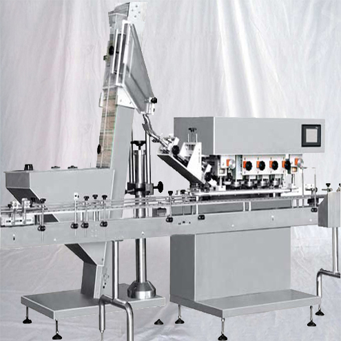 Inline spindle capping machine high speed bottles screw capper equipment with PLC touch screen controller caps lifting feeding system