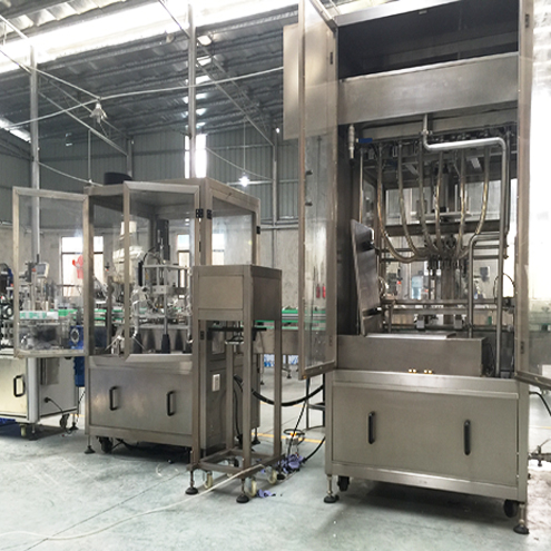 glass bottles vacuum air washing linear filling vacuum capping labeling for vegetable oil production fully automatic fill line