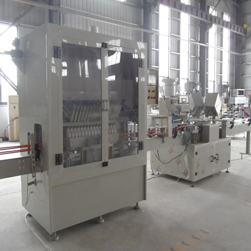 Angle neck bottles filling caps inserter feeding capping machine automatic oblique containers gravity filler capper line for chemical liquid
