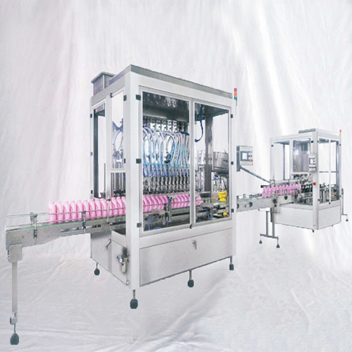 Liquid detergent&shampoo production line filling screw capping bottle labeling sealing shrinkage machine