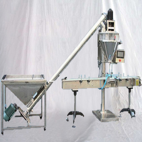 Automatic powder filling machine auger filler fine flour bottling filling equipment with deliverying conveyor belt