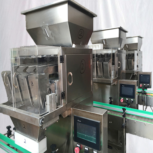 4heads Granules filling machine semi automatic with Bucket conveyor feeding system linear weigher filler equipment for spice flavour seeds
