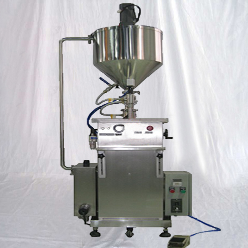 Vertical type cosmetic cream ointment sauce filler equipment with heating&mixing function semi automatic flow filling machinery