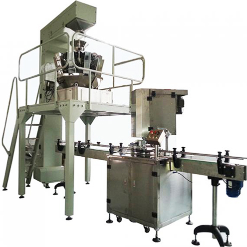granules particles filling sealing machine automatic multiheads feeding materials combination scales canning line