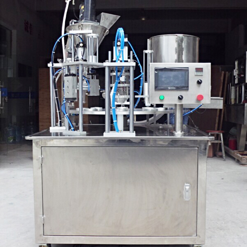 K cup coffee capsule ground bean powder rotary filling sealing machine with touch screen automatic filler sealer machinery