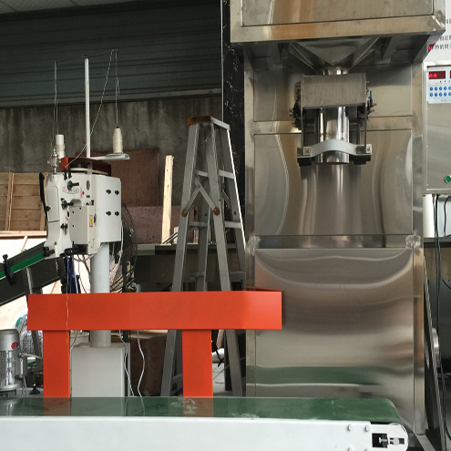 powder coconut flour weighing filling stiching machine semi automatic with auger feeding elevator filler sewing equipment
