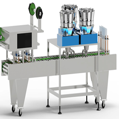 Customized cups filling sealing machine large granules snack food weighing metering filler system rice container fill-seal line