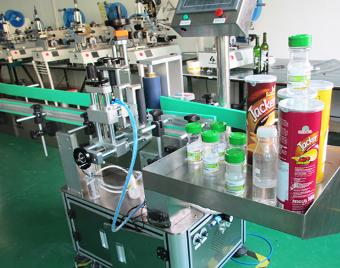round bottles cans labeling machine with positioning system automatic vertical labeler equipment