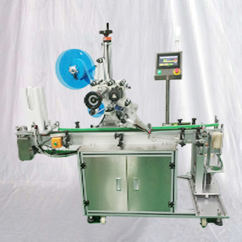 Fully automatic sticker labeling machine top surface labeller for cards plates covers with feeding &collection device