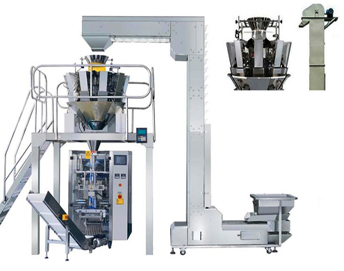 LARGE AUTOMATIC VERTICAL PACKING MACHINE WITH 10 Multihead WEIGHER Vertical multihead weighing packaging equipment with Z type bucket elevator for granules powders