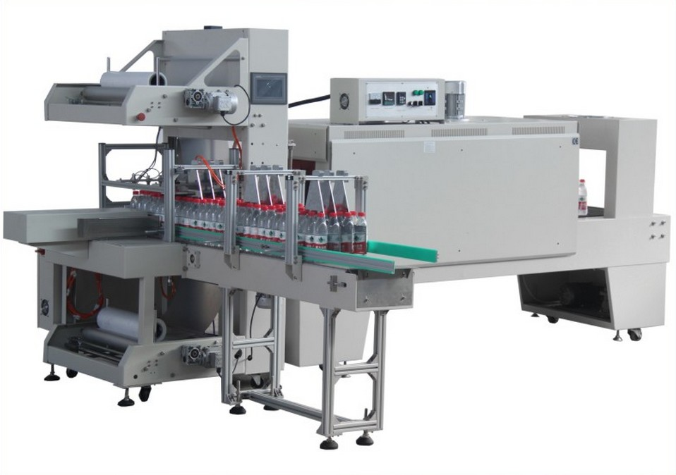 sleeve sealing shrink packaging machinery fully automatic for bottles cans jars boxes Sleeve type thermal PE film packing equipment