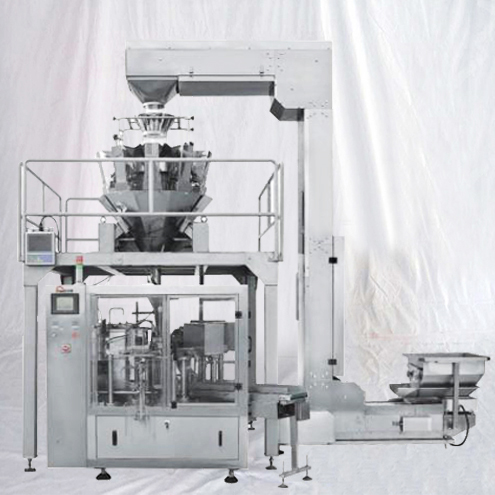 Rotary continuous bags-given packing machine pre-made bag pouch large granules rice cashew nuts filler sealer with multihead weigher feeding system