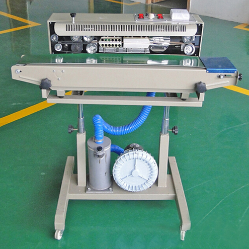 plastic snacks bags film continuous sealing machine with nitrogen gas filling inflatable bags vertical sealer equipment semi automatic