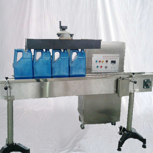 Tunnel type water-cooled aluminum foil induction sealing machine customized sealer equipment for Lub oil container pointed caps irregular bottles