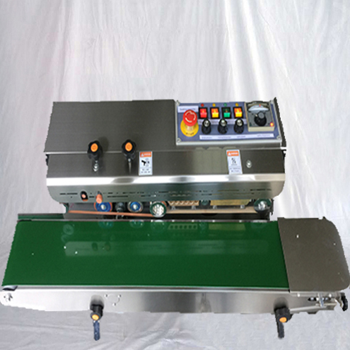 Continuous band sealer equipment semi automatic pre-made bags sealer equipment with embossing printing function